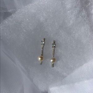 Silver Stud & off white Pearl Suspender earrings